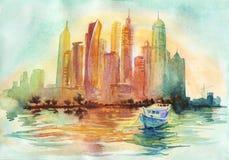 Αραβική εικονική παράσταση πόλης εμιράτων Watercolor Συρμένο χέρι ηλιοβασίλεμα Ντουμπάι, θάλασσα, βάρκα, ουρανοξύστης Στοκ φωτογραφία με δικαίωμα ελεύθερης χρήσης