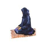 Αραβική μουσουλμανική γυναίκα Watercolor που προσεύχεται namaz Συρμένη χέρι ramadan απεικόνιση kareem Στοκ Φωτογραφία