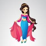 Αραβική πριγκήπισσα στο μπλε φόρεμα απεικόνιση αποθεμάτων