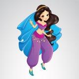 Αραβική πριγκήπισσα στο πορφυρό φόρεμα διανυσματική απεικόνιση