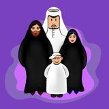Αραβικοί αστείοι χαρακτήρες - ευτυχής οικογένεια Στοκ εικόνες με δικαίωμα ελεύθερης χρήσης