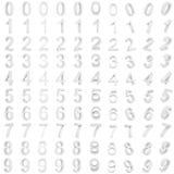 Αραβικοί τρισδιάστατοι άσπροι αριθμοί με τις διαφορετικές γωνίες Στοκ Φωτογραφίες