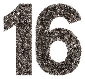 Αραβικός αριθμός 16, δέκα έξι, από το Μαύρο ένας φυσικός ξυλάνθρακας, isola Στοκ Εικόνα