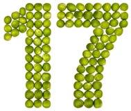 Αραβικός αριθμός 17, δεκαεπτά, από τα πράσινα μπιζέλια, που απομονώνονται στο λευκό Στοκ Εικόνες