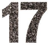 Αραβικός αριθμός 17, δεκαεπτά, από το Μαύρο ένας φυσικός ξυλάνθρακας, ISO Στοκ Φωτογραφία