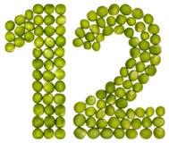 Αραβικός αριθμός 12, δώδεκα, από τα πράσινα μπιζέλια, που απομονώνονται στο άσπρο BA Στοκ Φωτογραφία