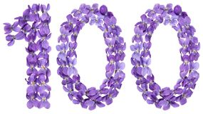 Αραβικός αριθμός 100, εκατό, από τα λουλούδια του viola, που απομονώνονται Στοκ Εικόνες