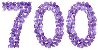 Αραβικός αριθμός 700, επτακόσιοι, από τα λουλούδια του viola, isolat Στοκ Φωτογραφία