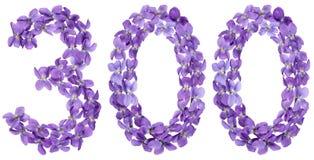 Αραβικός αριθμός 300, τριακόσιοι, από τα λουλούδια του viola, isolat Στοκ φωτογραφία με δικαίωμα ελεύθερης χρήσης