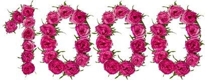Αραβικός αριθμός 1000, χίλιοι, από τα κόκκινα λουλούδια ροδαλού, ISO Στοκ Εικόνα