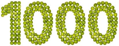 Αραβικός αριθμός 1000, χίλιοι, από τα πράσινα μπιζέλια, που απομονώνονται επάνω Στοκ φωτογραφίες με δικαίωμα ελεύθερης χρήσης