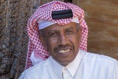 Αραβικός ηληκιωμένος πορτρέτου στην αγορά Souq Waqif doha Κατάρ Στοκ Εικόνα