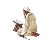 Αραβικός ηληκιωμένος Watercolor που προσεύχεται namaz στο μουσουλμανικό τέμενος Συρμένη χέρι ramadan απεικόνιση kareem Στοκ φωτογραφίες με δικαίωμα ελεύθερης χρήσης