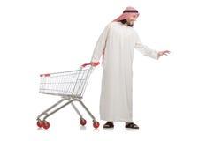 Αραβικό άτομο που κάνει τις αγορές που απομονώνονται στο λευκό Στοκ φωτογραφίες με δικαίωμα ελεύθερης χρήσης