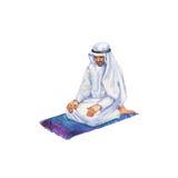 Αραβικό άτομο Watercolor που προσεύχεται namaz στο μουσουλμανικό τέμενος Συρμένη χέρι ramadan απεικόνιση kareem Στοκ φωτογραφία με δικαίωμα ελεύθερης χρήσης