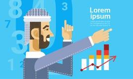 Αραβικό επιχειρησιακό άτομο που παρουσιάζει έκθεση γραφικών παραστάσεων διαγραμμάτων χρηματοδότησης Στοκ Φωτογραφίες