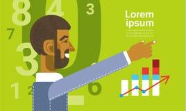 Αραβικό επιχειρησιακό άτομο που παρουσιάζει έκθεση γραφικών παραστάσεων διαγραμμάτων χρηματοδότησης Στοκ Εικόνα