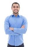 Αραβικό επιχειρησιακό άτομο στο μπλε πουκάμισο στο λευκό Στοκ εικόνες με δικαίωμα ελεύθερης χρήσης