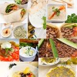 Αραβικό Μεσο-Ανατολικό κολάζ τροφίμων Στοκ Φωτογραφίες