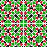 αραβικό πρότυπο άνευ ραφής background repeated Παραδοσιακά αραβικά χρώματα Κόκκινος, πράσινος, άσπρος, μαύρος Ισλαμικό διακοσμητι ελεύθερη απεικόνιση δικαιώματος