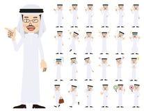 Αραβικό σύνολο χαρακτήρα ατόμων Διάφορος θέτει και συγκινήσεις Απεικόνιση αποθεμάτων