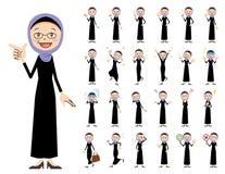 Αραβικό σύνολο χαρακτήρα γυναικών Διάφορος θέτει και συγκινήσεις Ελεύθερη απεικόνιση δικαιώματος
