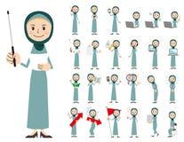 Αραβικό σύνολο χαρακτήρα γυναικών Παρουσίαση στη διάφορη δράση Διανυσματική απεικόνιση