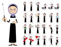 Αραβικό σύνολο χαρακτήρα γυναικών Παρουσίαση στη διάφορη δράση Απεικόνιση αποθεμάτων