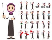 Αραβικό σύνολο χαρακτήρα γυναικών Παρουσίαση στη διάφορη δράση Ελεύθερη απεικόνιση δικαιώματος