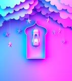 Αραβικό φανάρι, κρεμώντας σύννεφο, αστέρι, παράθυρο στο μπλε ρόδινο ιώδες διαστημικό κείμενο αντιγράφων υποβάθρου κλίσης διανυσματική απεικόνιση