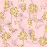 Αραβικό χρυσό άνευ ραφής σχέδιο φαναριών Στοκ φωτογραφίες με δικαίωμα ελεύθερης χρήσης