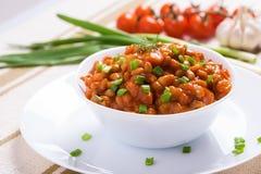 Αργά φασόλια με τα μανιτάρια και τα λαχανικά Στοκ εικόνες με δικαίωμα ελεύθερης χρήσης