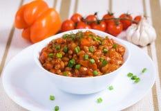 Αργά φασόλια με τα μανιτάρια και τα λαχανικά Στοκ Εικόνες