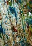 Αργυροειδές μπλε υπόβαθρο, λαμπιρίζοντας λασπώδες κέρινο χρώμα, υπόβαθρο μορφών αντίθεσης στα χρώματα κρητιδογραφιών Στοκ φωτογραφία με δικαίωμα ελεύθερης χρήσης