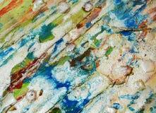 Αργυροειδές πράσινο πορτοκαλί λαμπιρίζοντας λασπώδες κέρινο χρώμα, υπόβαθρο μορφών αντίθεσης στα χρώματα κρητιδογραφιών Στοκ Φωτογραφίες