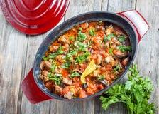 Αργό αρνί με τη μελιτζάνα και λαχανικά στο κόκκινο δοχείο στοκ φωτογραφία