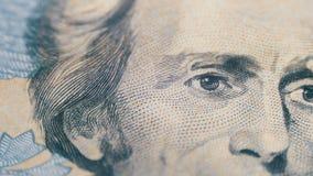 Αργό περιστρεφόμενο πορτρέτο του Andrew Τζάκσον σε είκοσι δολάρια Μπιλ στη μακροεντολή απόθεμα βίντεο