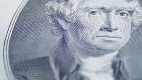 Αργό περιστρεφόμενο πρόσωπο του Thomas Jefferson δύο στο δολάριο Μπιλ φιλμ μικρού μήκους
