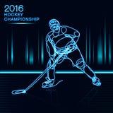 Αρθ. ένα έννοιας πρωταθλήματος χόκεϋ 2016 πάγου παίκτης γραμμών με την επίδραση νέου του ελαφριού φλυτζανιού πρωτοπόρων Στοκ φωτογραφία με δικαίωμα ελεύθερης χρήσης