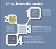 Αριθμημένο απλά infographic πρότυπο, μπλε Στοκ Φωτογραφία