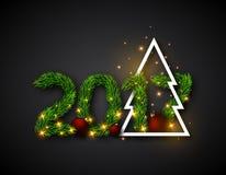 2017 αριθμητικό από τους κλάδους έλατου με το αφηρημένο χριστουγεννιάτικο δέντρο και Στοκ Φωτογραφίες