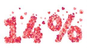 αριθμοί έκπτωσης ημέρας βαλεντίνων 14 τοις εκατό που γίνονται από το κομφετί μορφής καρδιών ελεύθερη απεικόνιση δικαιώματος