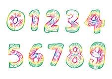 Αριθμοί 0 έως 9 από διακοσμημένος διανυσματική απεικόνιση