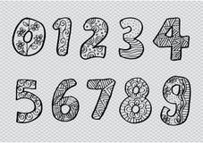 Αριθμοί 0 έως 9 από διακοσμημένος ελεύθερη απεικόνιση δικαιώματος