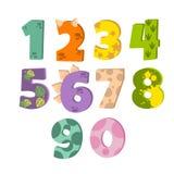 Αριθμοί δεινοσαύρων για το σχεδιασμό των γενεθλίων ή της πρόσκλησης κομμάτων του Dino, ευχετήρια κάρτα, αυτοκόλλητη ετικέττα, έμβ ελεύθερη απεικόνιση δικαιώματος
