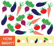 Αριθμοί εκμάθησης, μαθηματικά, μετρώντας παιχνίδι για τα παιδιά Ντομάτα πόσων λαχανικών, τεύτλο, μελιτζάνα, καρότο Διανυσματικό i απεικόνιση αποθεμάτων