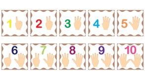 Αριθμοί εκμάθησης, μαθηματικά με τα δάχτυλα του χεριού απομονωμένο λευκό αντικειμένου καρτών ανασκόπησης λάμψη απεικόνιση αποθεμάτων