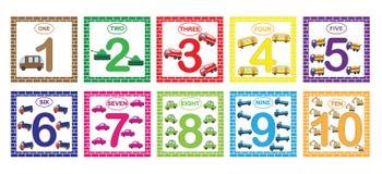 Αριθμοί εκμάθησης, μαθηματικά με τη μεταφορά αυτοκινήτων Κάρτες λάμψης με τους αριθμούς από 1 έως 10, σύνολο Παιχνίδι για τα παιδ διανυσματική απεικόνιση