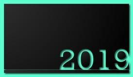 αριθμοί 2019 ετών στο μαύρο υπόβαθρο διανυσματική απεικόνιση