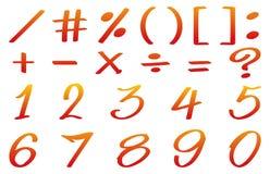 Αριθμοί και math σημάδια στο κόκκινο χρώμα Στοκ εικόνα με δικαίωμα ελεύθερης χρήσης